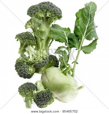 kohlrabi and broccoli stack isolated on white background