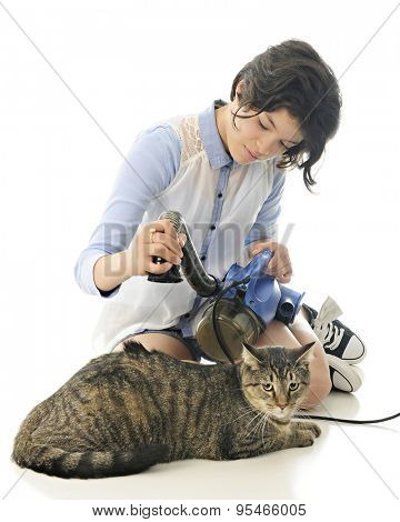 A pretty young teen vacuuming a contented tabby cat with a spot of back hair being suctioned up.  Focus on the girl.   On a white background.