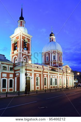 ST. PETERSBURG, RUSSIA - JUNE 8, 2015: Night view of the Church of Holy greatmartyr and healer Panteleimon. Built in 1735-1739 in Baroque style, the church was several times enlarged and reconstructed