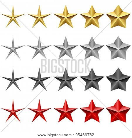 Star icons vector set isolated on white background.