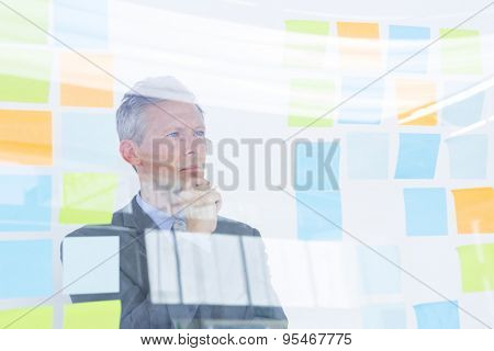 Puzzled businessman looking post its on the wall in the office