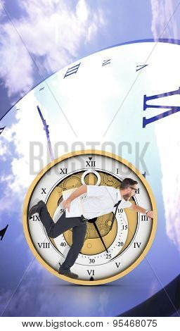 Geeky young businessman running late against digitally generated roman numeral clock