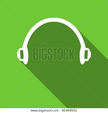 headphones flat icon  original modern design flat icon for web and mobile app with long shadow
