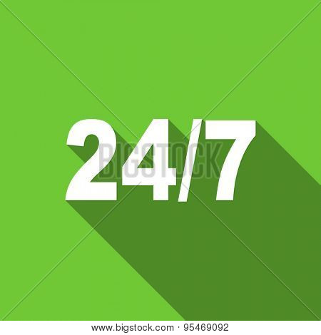 24/7 flat icon  original modern design flat icon for web and mobile app with long shadow