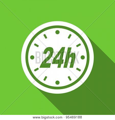 24h flat icon  original modern design flat icon for web and mobile app with long shadow
