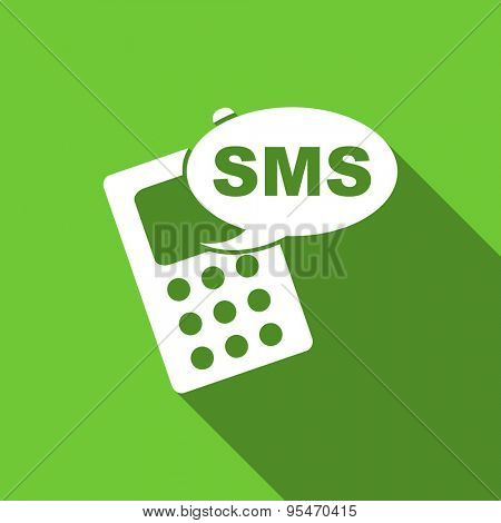 sms flat icon phone sign original modern design flat icon for web and mobile app with long shadow