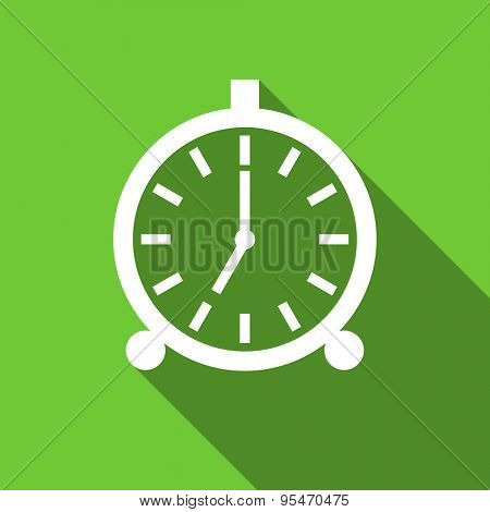alarm flat icon alarm clock sign original modern design flat icon for web and mobile app with long shadow