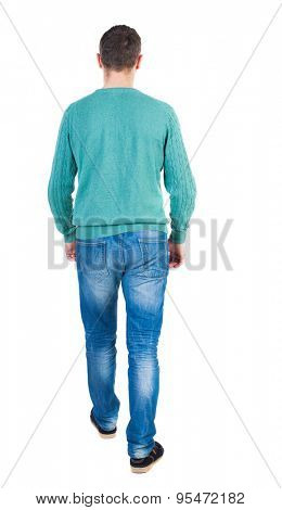 Back view of going  handsome man in jeans and a shirt.  walking young guy . Rear view people collection.  backside view of person.  Isolated over white background. The guy in the green jacket goes on