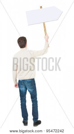 Back view man showing sign board. man holds information plate. Rear view people collection. backside view of person. Isolated over white background. The guy in white sweater waving null