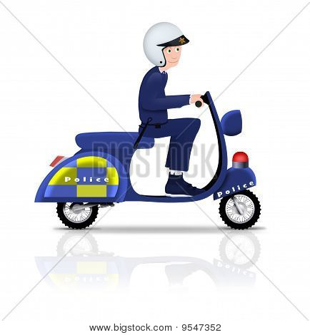 Policeman On Scooter