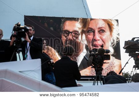 Cannes, France - May 16, 2015: A general view of atmosphere during the 'Mia Madre' ('My Mother') Premiere during the 68th annual Cannes Film Festival on May 16, 2015 in Cannes, France.