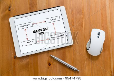 Digital Tablet, pen and mouse on working desk showing marketing mix concept