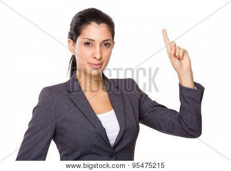 Businesswoman finger point upwards