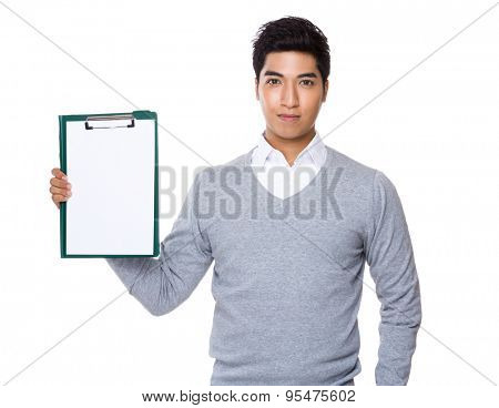 Iranian mixed chinese businessman showing with the file board