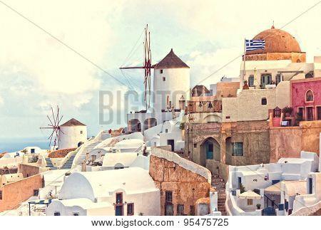 oia view santorini island greece
