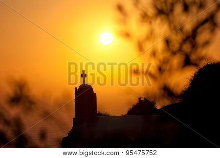 oia at sunset santorini island greece