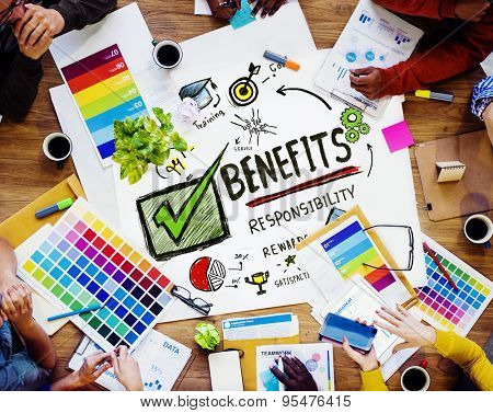 Benefits Gain Profit Earning Income Design Meeting Concept