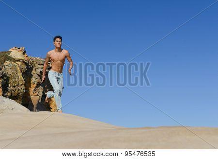 handsome full body man doing run in outdoors