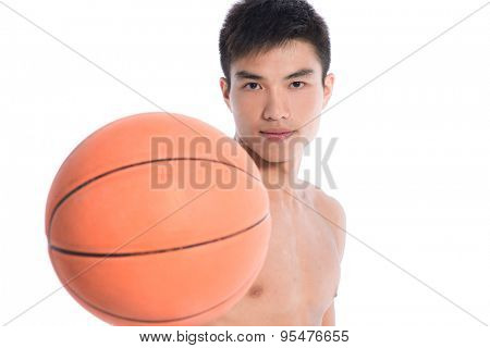 Handsome young man. Holding basketball-white backgrond