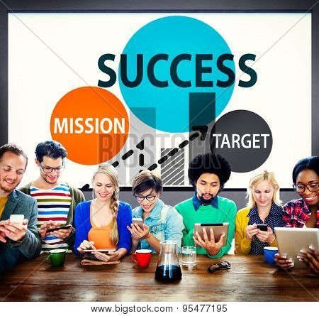 Success Mission Target Buisness Growth Planning Concept
