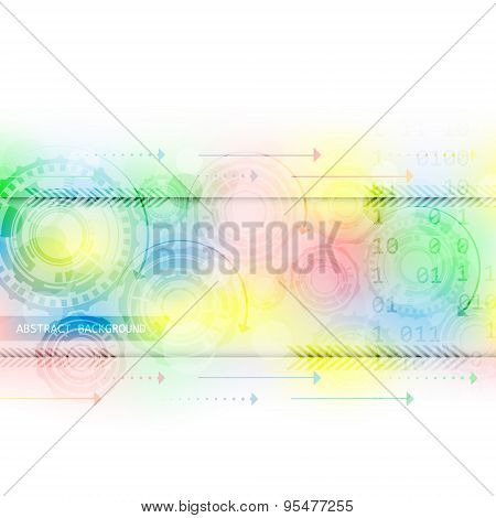 Abstract colorful vector background with gear wheels and arrows