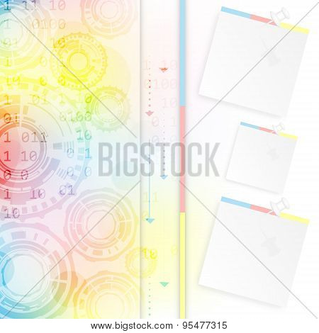 Abstract colorful vector background with gear wheels arrows and pin with paper