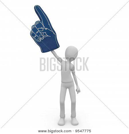 3D Man With Foam Finger
