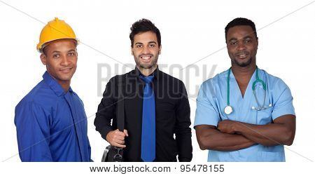 Latino men of different professions isolated on white background