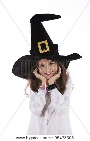 Child with halloween hat