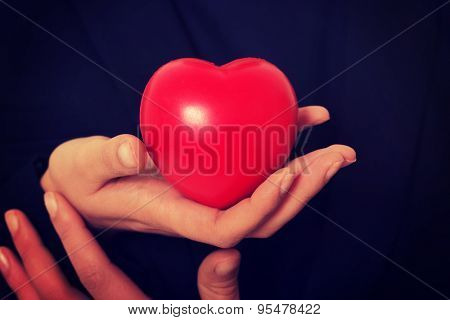 Small red heart in woman hands