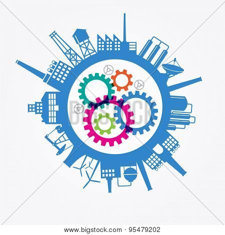 Planet earth with silhouettes of industrial buildings, gears. Flat industrial backgroun. The file is saved in illustrator version 10 EPS. This illustration contains transparency