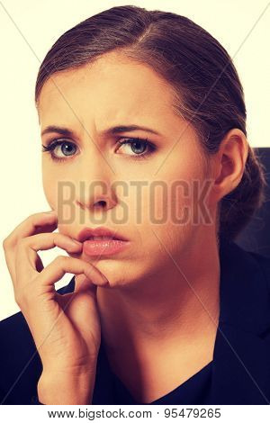Portrait of pensive woman having a trouble