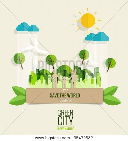 ECO FRIENDLY. Paper cut of family with city and tree background. Vector illustration.