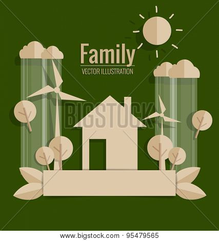 ECO FRIENDLY. Paper cut of house and Trees. Vector illustration.