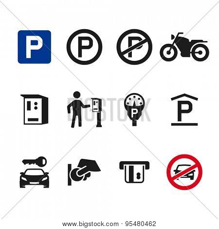 Vector parking icon set 01