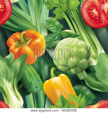 Seamless pattern with vegetables. Vector illustration.