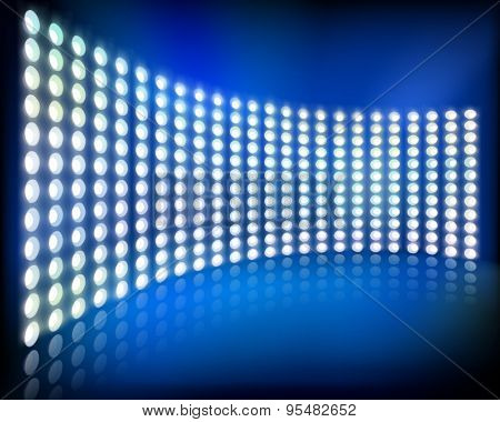 Big led projection screen. Vector illustration.