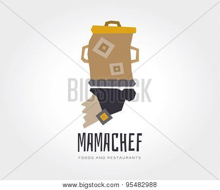 Abstract mama chef logo template for branding and design