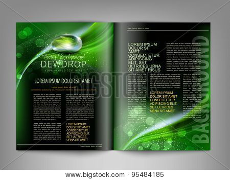 vector template print edition of the magazine with dew drop