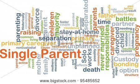Background concept wordcloud illustration of single parent