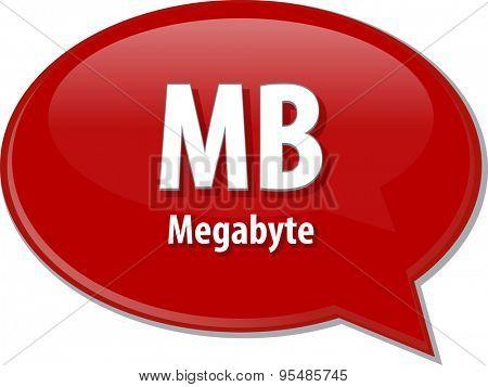 Speech bubble illustration of information technology acronym abbreviation term definition MB Megabyte