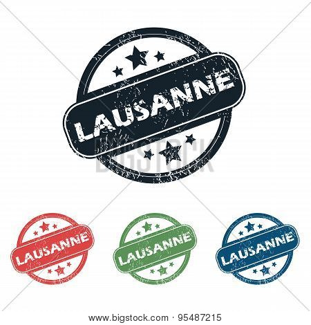 Round Lausanne city stamp set