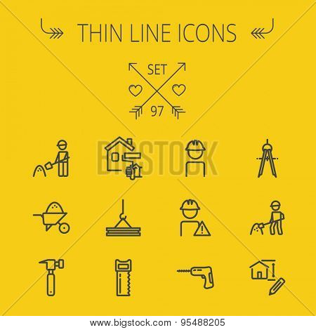 Construction thin line icon set for web and mobile. Set includes- compass, house sketch, man with hard hat, hammer drill, house paint, crane, hacksaw, hammer. Modern minimalistic flat design. Vector