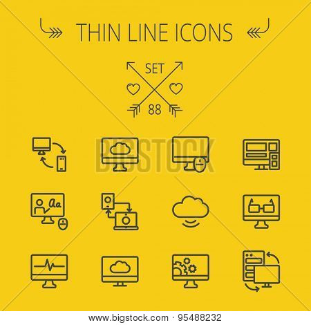 Technology thin line icon set for web and mobile. Set includes - monitors transferring data, cloud, mouse, wifi, gear, speaker. Modern minimalistic flat design. Vector dark grey icon on yellow