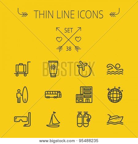 Travel thin line icon set for web and mobile. Set includes- yacht, oxygen tank, snorkel with mask, luggage, hotel, sailboat, plane, wakeboard, swimming, icons. Modern minimalistic flat design. Vector