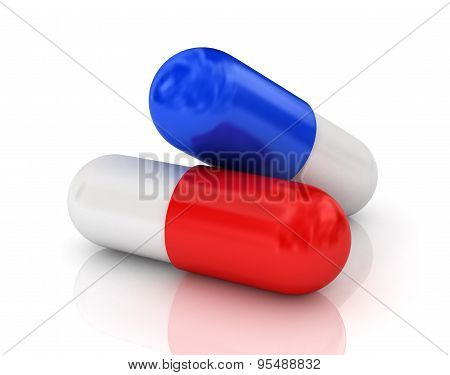 Two Pills. Isolated Render On A White Background.