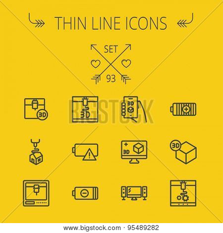 Technology thin line icon set for web and mobile. Set includes - 3D printer, 3d box, tv with speakers, battery. Modern minimalistic flat design. Vector dark grey icon on yellow background