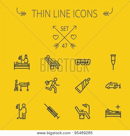 Medicine thin line icon set for web and mobile. Set includes- toothpaste, syringe, dentist chair, teeth, bed,dextrose, ambulance icons. Modern minimalistic flat design. Vector dark grey icon on light