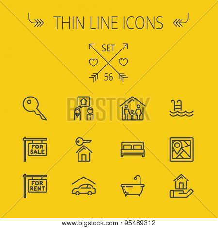Real estate thin line icon set for web and mobile. Set includes- key, for sale placard, house key, bed, frame, for rent placard, car garage, tub icons. Modern minimalistic flat design. Vector dark
