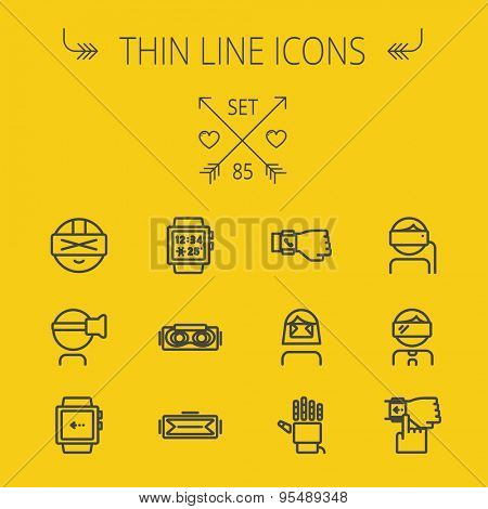 Technology thin line icon set for web and mobile. Set includes- smartwatch, virtual reality headset, wristwatch, robot hand icons. Modern minimalistic flat design. Vector dark grey icon on light grey